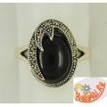Кольцо с черным ониксом и марказитами