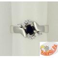 Серебряное кольцо с наносапфиром и фианитами