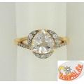 Золотое кольцо с горным хрусталем и фианитами