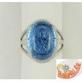 Серебряное православное кольцо с кварцем