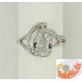 Серебряное кольцо с горным хрусталем и цирконием