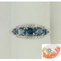 Серебряное кольцо с топазами Лондон и фианитами
