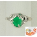 Серебряное кольцо с агатом и фианитами