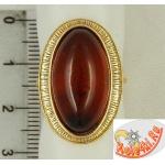 Позолоченное кольцо с крупным янтарем
