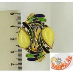 Серебряное кольцо с эмалью и янтарем