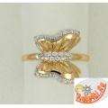 Золотое кольцо Бабочка с фианитами