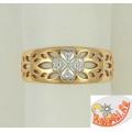 Золотое кольцо Четырехлистник с фианитами