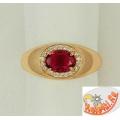 Кольцо из серебра с корундом рубиновым и фианитами