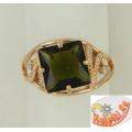 Кольцо из серебра с зеленым турмалином