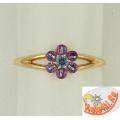 Золотое кольцо с топазом и аметистами