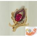 Золотое кольцо с рубиновым корундом
