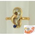 Кольцо из золота 585 пробы с сапфиром и бриллиантами