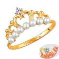 """Золотое кольцо с жемчугом """"Корона"""""""