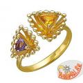 Золотое кольцо с аметистом и цитрином