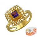 Золотое кольцо с квадратным аметистом
