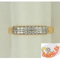 Золотое кольцо с дорожками фианитов