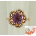 Золотое кольцо с аметистом и фианитами