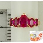 Кольцо с рубинами из позолоченного серебра