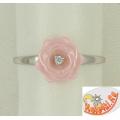 Кольцо из серебра 925 пробы с розовой керамикой в форме розочки