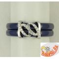 Синее керамическое кольцо с серебряной вставкой