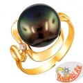 Кольцо из золота с черной жемчужиной