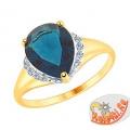 Кольцо из золота с синим топазом и фианитами