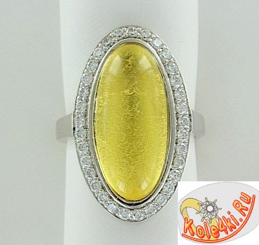 Серебряное кольцо с ювелирной смолой и цирконием