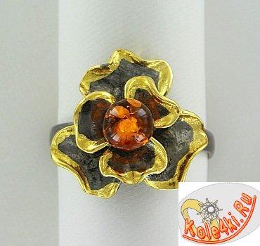 """Серебряное кольцо с янтарем """"Цветок"""""""