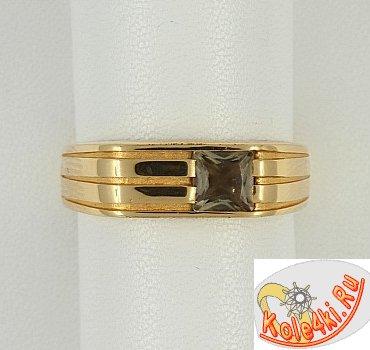 Золотая печатка с раухтопазом
