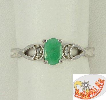 Серебряное кольцо с природным изумрудом