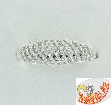 Двойное серебряное кольцо с цирконами