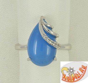 Кольцо с голубым халцедоном