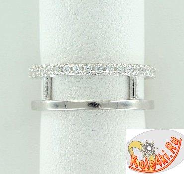 Серебряное кольцо с цирконием на верхнюю фалангу пальца