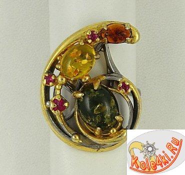 Кольцо из серебра с разноцветным янтарем