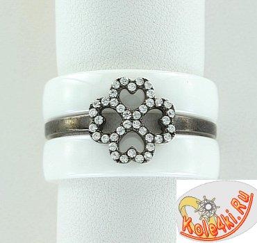 Кольцо из керамики с серебром и цирконием