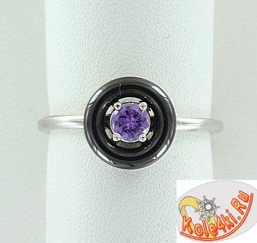 Серебряное кольцо с керамикой и цирконием