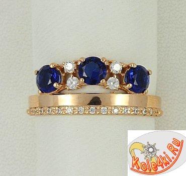 Серберяное кольцо с сапфирами и фианитами